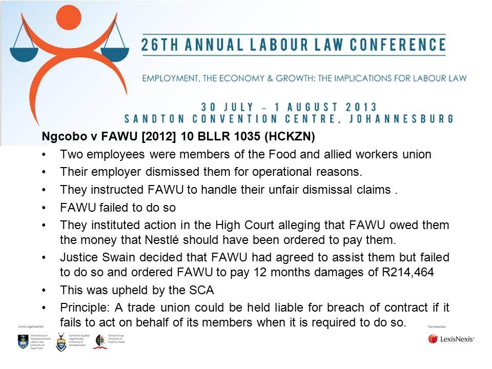 Ngcobo v FAWU [2012] 10 BLLR 1035 (HCKZN)